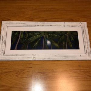 Art work palm trees in white washed frame